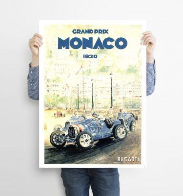poster Monaco 1930 Bugatti